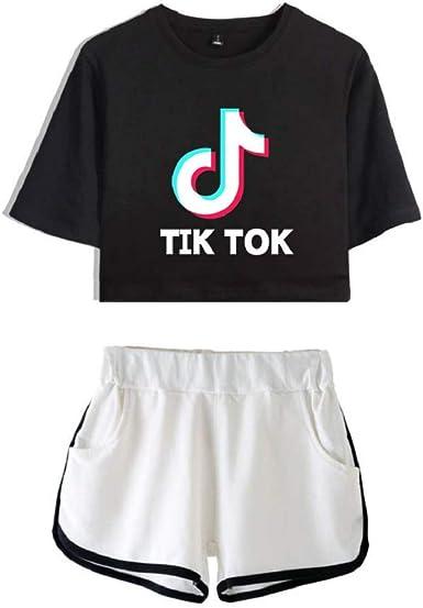 ISSAYEA Mujeres TIK TOK Camiseta y Pantalones Cortos 2 Piezas Crop Top Ocasionales Ropa de Yoga de Deporte Pijamas: Amazon.es: Ropa y accesorios