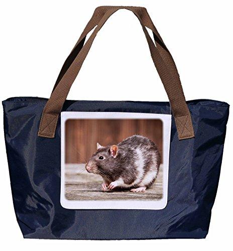 Shopper / Borsa A Tracolla / Sacchetto Di Acquisto / Sacchetto Di Trasporto / Borsa A Tracolla In Nylon Di Colore Blu Navy - Formato 43x33cm - Motivo: Ratto Colore Rat Rat Ornamentali - 02
