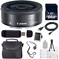 Canon EF-M 22mm f/2 STM Lens + 64GB SDXC Class 10 Memory Card 6AVE Bundle 17 (International Verion) No Warranty