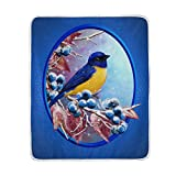 My Little Nest Warm Throw Blanket Small Bird Blue Berries Lightweight Microfiber Soft Blanket Everyday Use for Bed Couch Sofa 50'' x 60''