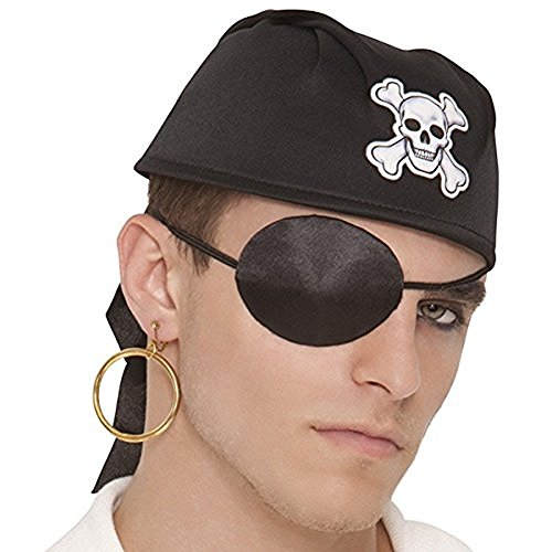 Amscan Notorious Pirate Party Silk Eye Patch Accessory, One Size, Black