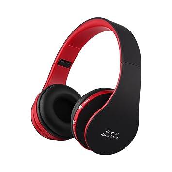 Auriculares Ueleknight Auriculares inalámbricos, Auriculares estéreo con micrófono incorporado, Auriculares ligeros de estilo de banda auricular-Rojo negro: ...