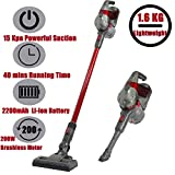 SU-VAC Red Vacuum Cleaner Two Mode Up to 15KPA Powerful 180-200W Brushless Motor2-in-1 Cordless Stick Vacuums 22.2 V Rechargeable Detachable Lithium Ion Battery & Wall-Mount Ideal for Hardwood Floors