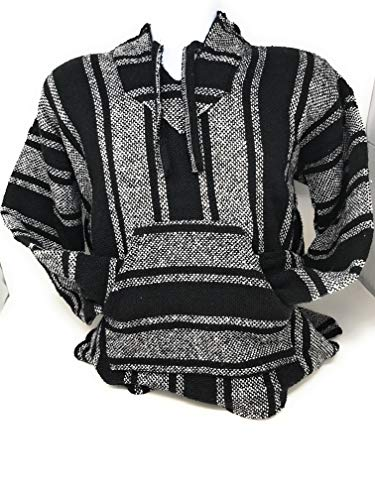 (Mexitems Authentic Mexican Baja Hoodie Sweater Pullover (X- Large) Black/White)