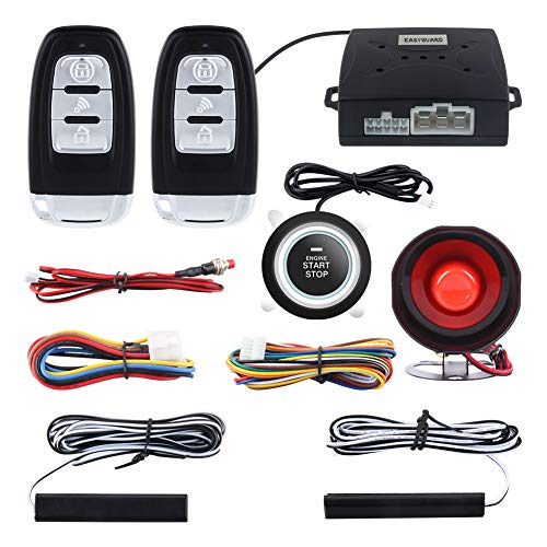 EASYGUARD EC003 Smart Key PKE Passive Keyless Entry Car Alarm System Push Start Button Remote Engine Start Universal Version DC12V ()