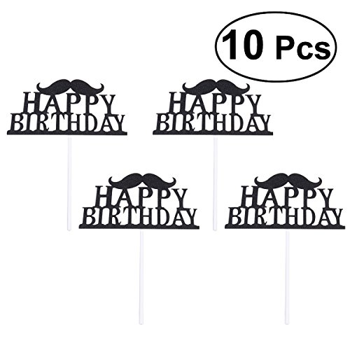 BESTOYARD Happy Birthday Cake Topper Party Supplies Decoration Ideas Party Favors,Pack of 10 (Black) -
