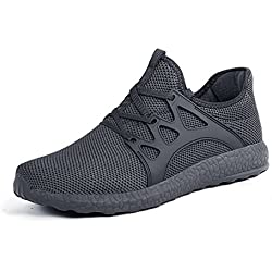 ZOCAVIA Mens Sneakers Ultra Lightweight Breathable Mesh Street Sport Gym Running Walking Shoes (9.5 M US, Dark Grey)