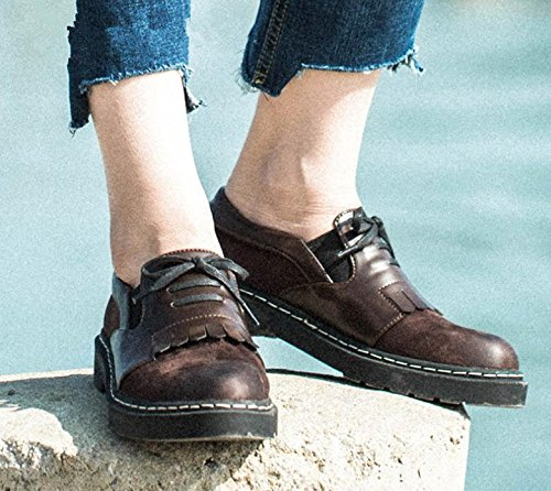 2017 nuevos zapatos de las mujeres del resorte plano y redondo con una sola zapatos retro planas coffee