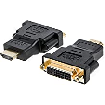 HDMI to DVI, CableCreation [2-PACK] Gold-Plated HDMI to DVI Adapter, Male to Female Converter