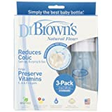 Dr. Brown's 180-P3 BPA Free Polypropylene Natural Flow Standard Neck Bottle, 4-Ounce - 3-Pack