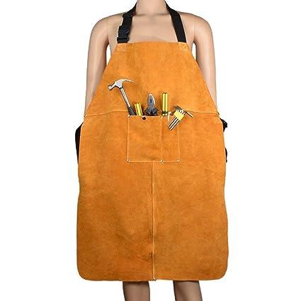QEES Delantal de soldadura de cuero Blacksmith Delantal, resistente retardante de llama soldador trabajo delantal