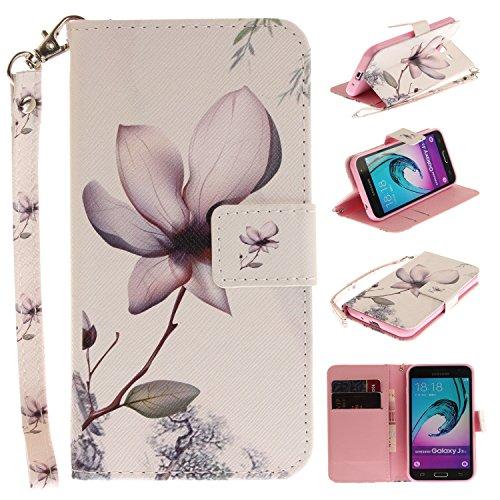 Para Samsung Galaxy J3 (2016)/J310 funda, (tigre siberiano) caja del teléfono de la PU patrón en pintado ,Función de Soporte Billetera con Tapa para Tarjetas correa de mano soporte para teléfono magnolia