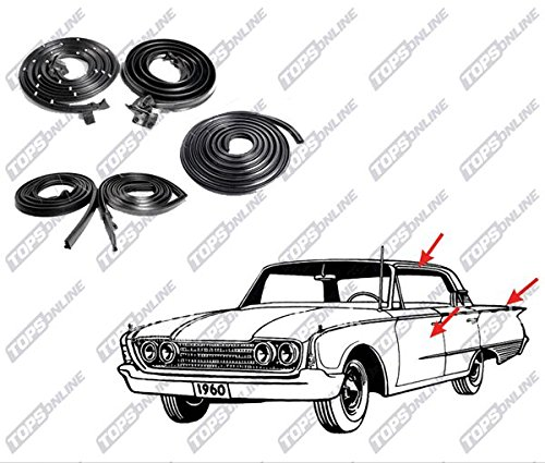 Chevy Caprice Door Seal - 1965 thru 1966 Chevy Impala & Caprice--5 Piece Weather Seals Kit for 2-Door Hardtop Model