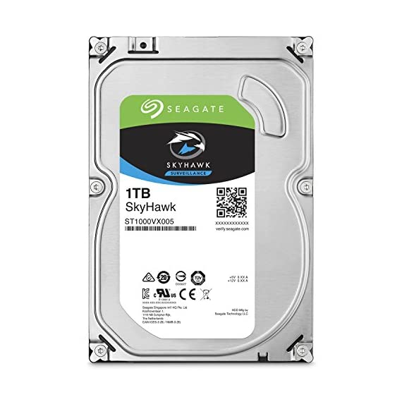 Seagate SkyHawk 1TB Surveillance Hard Drive - SATA 6Gb/s 64MB Cache 3.5-Inch Internal Drive (ST1000VX005) 1 Custom-built for surveillance applications with Image Perfect firmware for crisp, clear, 24×7 video workloads Maximum 180TB/year workload rating-3× the workload rating of desktop drives-for reliable performance in write-intensive surveillance systems Rotational vibration (RV) sensors help maintain performance in RAID and multi-drive systems (4TB or higher)