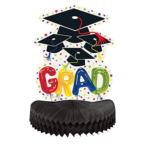 Unique Party Centro de Mesa de Graduacion de Nido de Abeja-25 cm-Diseno de Globo de Letras (73738)
