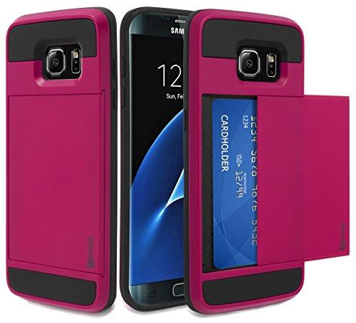 Bastex Samsung Galaxy S7 Edge Case, Hybrid Black Rubber Silicone Cover Hot Pink Hard Plastic Hidden Credit Card Cash Id Holder Slot Case for Samsung Galaxy S7 Edge G935