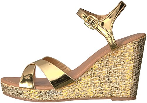 01x Lidi Wedge Women's Gold Sandal Qupid HqPvwE