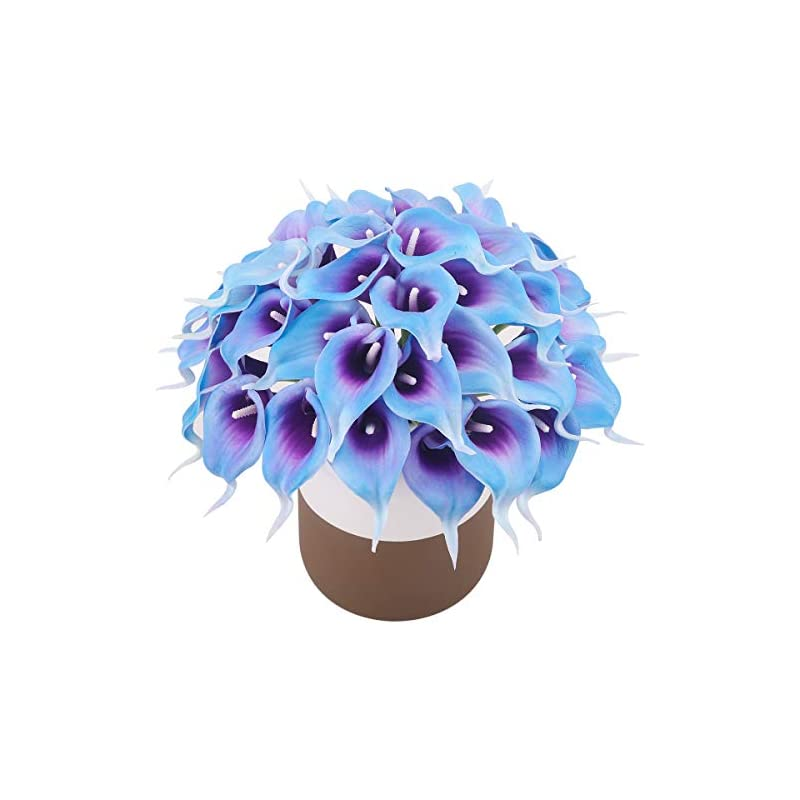 silk flower arrangements bomarolan calla lily real touch bridal wedding bouquet lataexs for bride artificial flowers birthday party home décor pack of 24 (purple in blue)