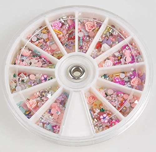 1 Sets Fanciness Popular 3D Acrylic Rhinestone Nails Art Wheels Salon Supplies Full Design Cellphone Pattern Style #24