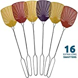 W4W Bug & Fly Swatter – Extra Long Handle 16 Pack Fly Swatters – Indoor/Outdoor – Pest Control flyswatter