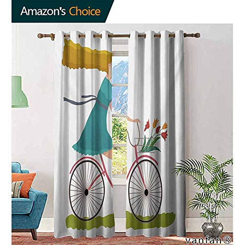 - Big datastore home Bicycle Blackout Lined Curtains,Young Woman on Bike with Basket of Tulip Flowers Riding in The Spring CountrysideDarkening Blackout Window Curtain,Multicolor W72 x L96