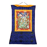 Shalinindia Oriental Art Decor - Hanging Silk Canvas Scroll Art - Thangka Mandala Painting, 30x23 Inches