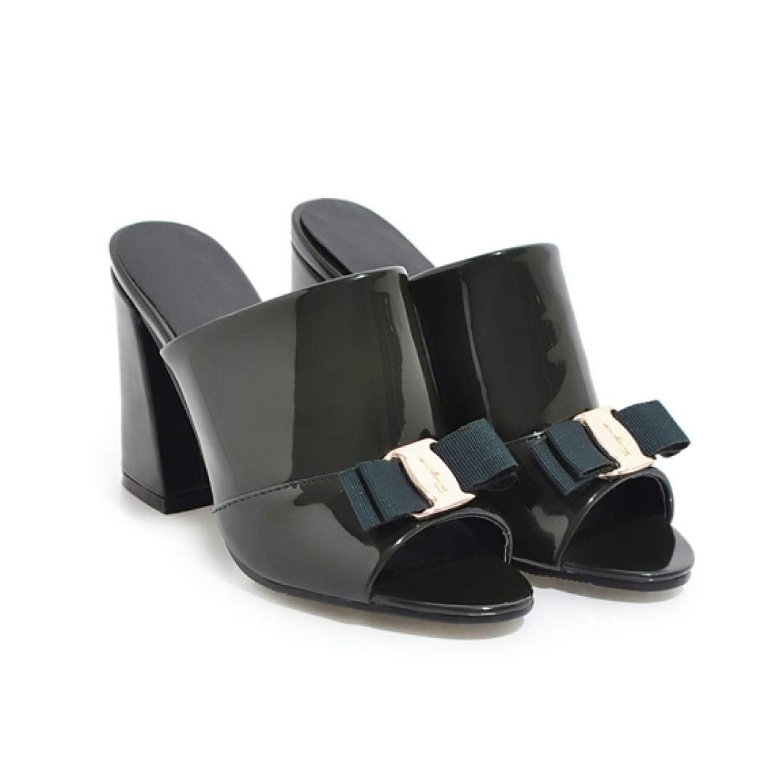 Green JOYBI Womens High Thick Heel Slides Sandals Summer PU Leather Non-Slip Bows Office Lady Peep Toe Pumps Sandal