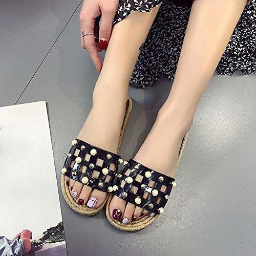 Frau Sommer neue Perlen, High Heels und Flip Flops., EU38, schwarz,