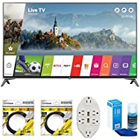 LG 60 Super UHD 4K HDR Smart LED TV 2017 Model (60UJ7700) with 2x 6ft High Speed HDMI Cable Black, Transformer Tap USB w/ 6-Outlet Wall Adapter and 2 Ports & Screen Cleaner for LED TVs