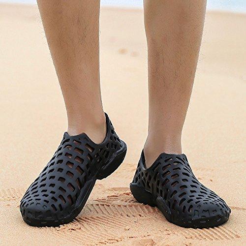 VonVonCo Men Shoes Unisex Hollow Out Casual Couple Beach Sandal Flip Flops Shoes Black by VonVonCo (Image #7)