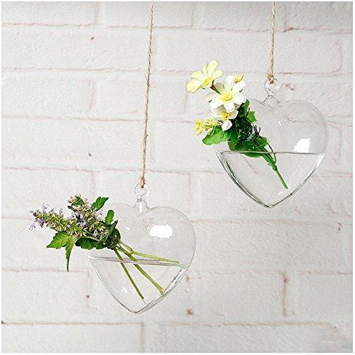 "YOOKOON Heart-shaped Transparent Glass Flower Vase Terrarium Container Wedding Home Garden Decoration 4.6""3.9"""