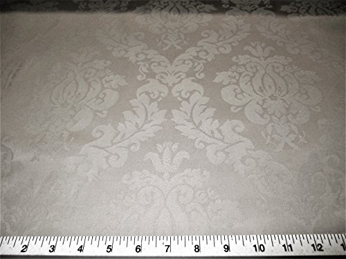 Swatch Sample Fabric Upholstery Drapery Jacquard Damask Floral Mushroom Gray CC31