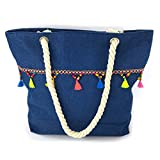 We We Fashion Bohemia Jean Beach Bag Waterproof Canvas Tote Bag - Large (Style 08)