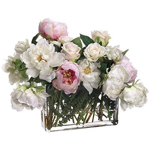 Pink and White Polyester Peony Rose Mixed Floral Arrangement in Glass Vase