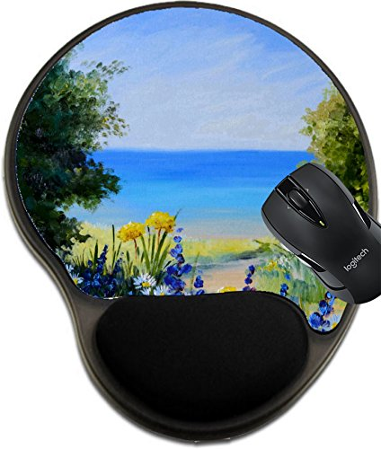 Msd Mousepad Wrist Protected Mouse Pads Mat With Wrist Support Design 35891067 Oil Painting Landscape Field Near The Sea Wild Flowers Artwork Background