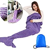 Mermaid Tail Blanket for Adults / Teens by AIQI - Feet Go in Fins - All Season Knitted Soft Cozy Sofa Bed Sleeping Bag, Ideal for a Gift (70.8 * 34.5 inch) (Purple)