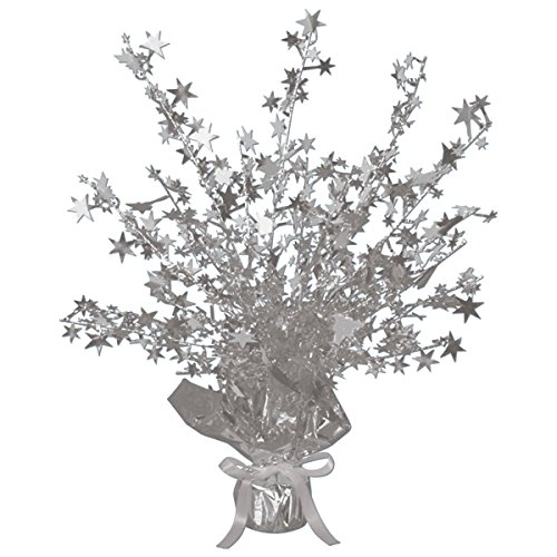 TCDesignerProducts Silver Gleam 'N Burst Centerpiece, 15 Inches High, Foil Star Spray Party Table Decoration ()