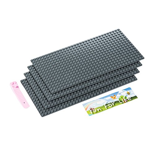 7.5' Action Figure (Lego-Compatible Brick Building Base 15'' x 7.5'' (4 Pack) Dark Gray Baseplate with a Brick Separator- by Fun For Life)