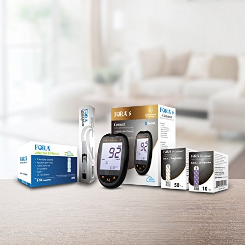 FORA6Connect Blood Ketone and Blood Glucose Testing Meter Kit, Monitor Your Ketone&Glucose Level, 1 Lancing Device, 100 Lancets, 10 Ketone Test Strips, 50 Glucose Test Strips.