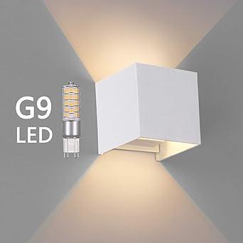 Aluminium Lampe Oowolf Anti Applique G9 Led En Eau Chaud Blanc Murale 5w Down Ip65 Interieurexterieur ÉtancheLuminaires Up qpUVSzM