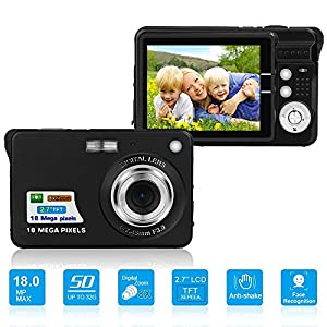 HD Mini Digital Camera with 2.7 Inch TFT LCD Display, Digital Video Camera Black-- Sports,Travel,Camping,Birthday&Christmas Gift (Black)