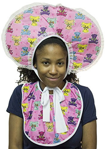 Baby Costumes For Adults (Forum Novelties Women's Big Baby Girl Deluxe Accessory Bib and Bonnet Set, Pink, One size)