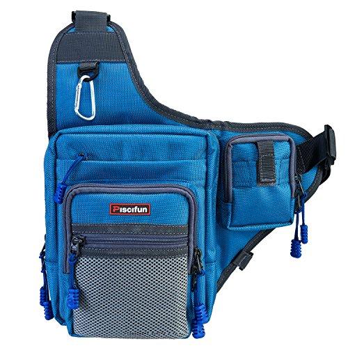 Padded Super Sling - Piscifun Sports Shoulder Bag Fishing Tackle Bag Crossbody Messenger Sling Bags (Blue)