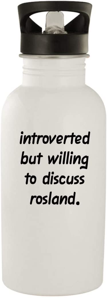 Introverted But Willing To Discuss Rosland - 20oz Stainless Steel Water Bottle, White