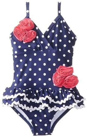 Hartstrings Little Girls'    Polka Dot Ruffle Skirt One Piece Swimsuit, Blue White Print, 5