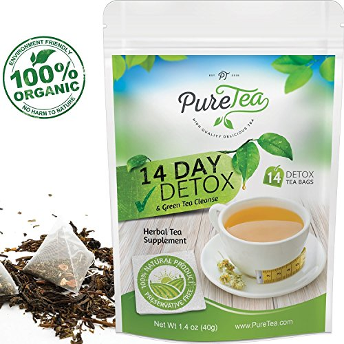PureTea 14 Day Teatox Detox Herbal Tea 14 Tea Bags Detox Tea For Weight Loss and Belly Fat Body Cleanse and Appetite Control Gentle Energy Natural Detox Supplement for Women and Men