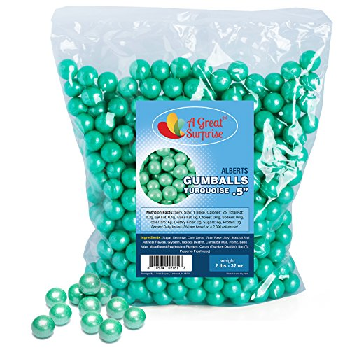 Halloween Candy Buffet - Gumballs in Bulk - Turquoise Gumballs for Candy Buffet - Mini Shimmer Gumballs 1/2 Inch - Bulk Candy 2 LB