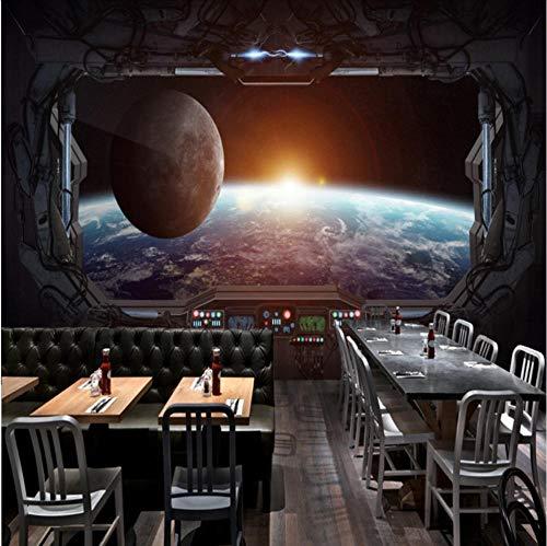 (Smydp Wall Stickers Murals Custom Mural 3D Stereo Gaming Room Mural Cosmic Space Cabin Spacecraft Moon Mural Restaurant Mural Bar Ktv Custom Wallpaper,120X100Cm)