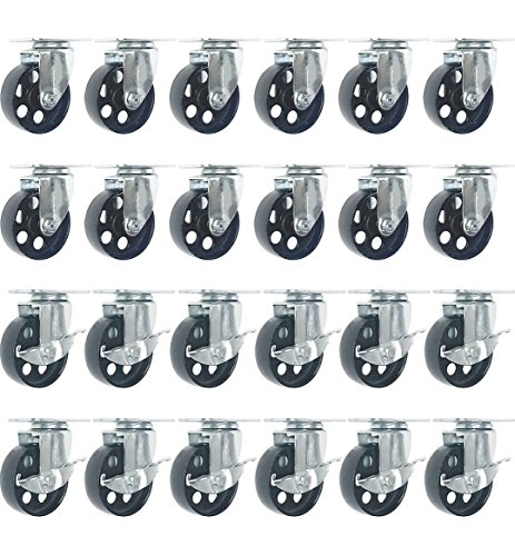- FactorDuty 24 All Steel Swivel Plate Caster Wheels w Brake Lock Heavy Duty High-Gauge Steel (4