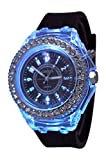 Black Geneva Quartz Flashing Light up Color Changing LED Silicone Jelly Watch